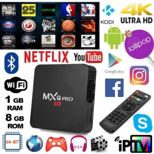 MXQ Pro 4K*2K 1080P Smart TV BOX Android Quad Core WiFi 8GB ROM 1GB RAM